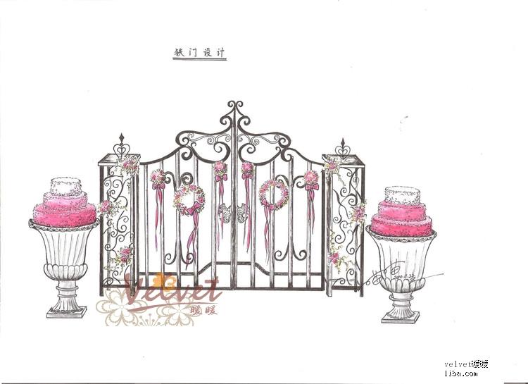 婚礼手绘图欧式建筑