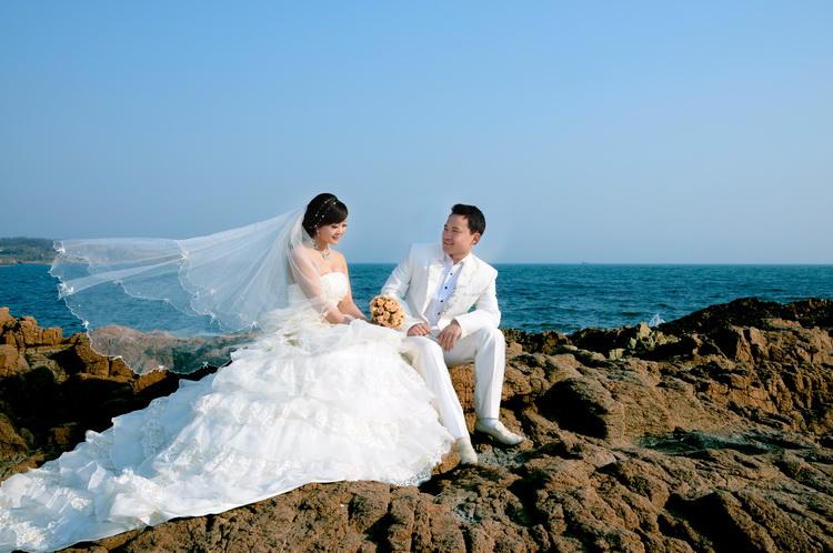青岛蜜月婚纱照◆终于拍到向往已久的大海啦@感谢