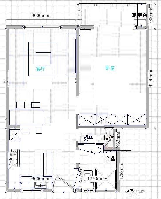 建筑面积50平米老房子求装修设计