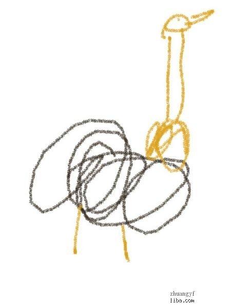 幼儿园卡纸剪贴画图片鸵鸟