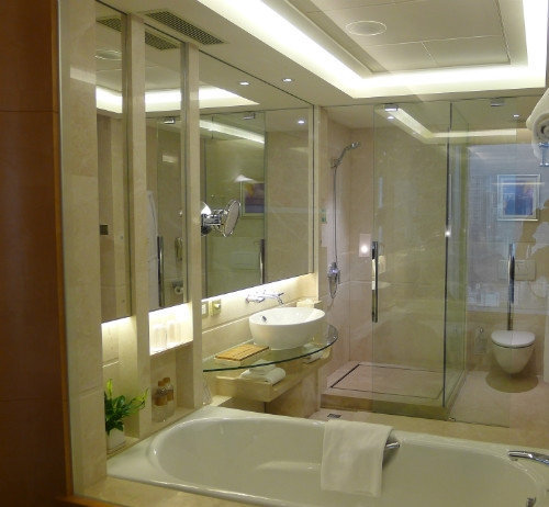 开放式洗手间,坐在浴缸可以看电视,洗手间里面有一个小喇叭图片