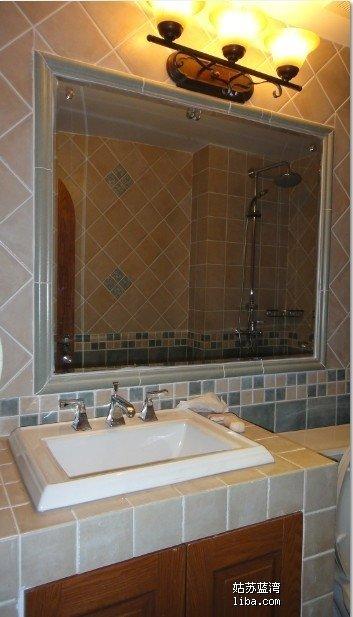 美式砖砌洗手台效果图弧形