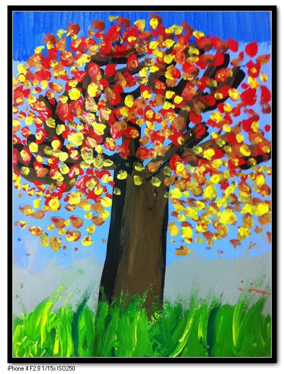 废物变宝手工制作树粘贴画