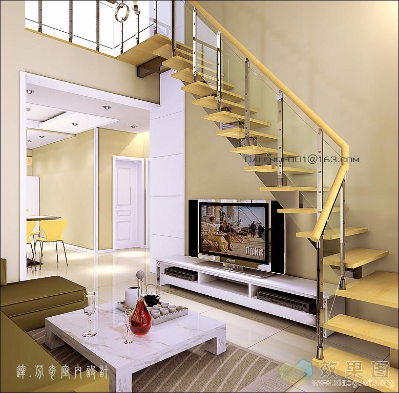 这样放楼梯,不占空间,但电视墙有种被隔断的感觉