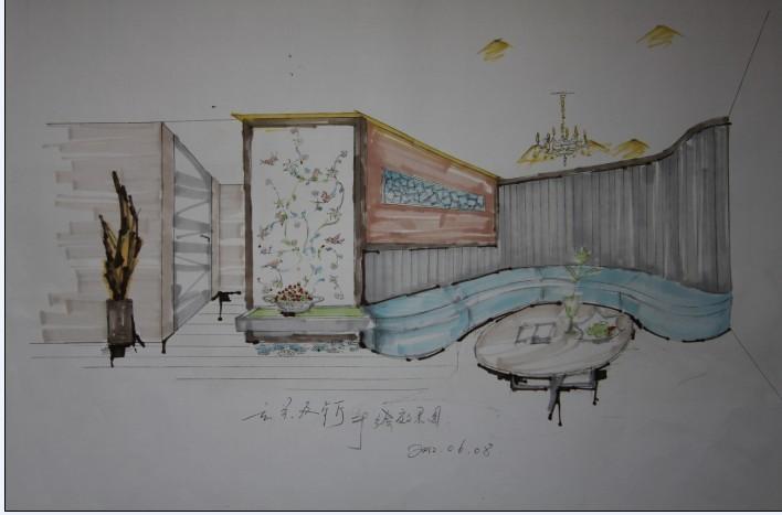 玄关及餐厅手绘图