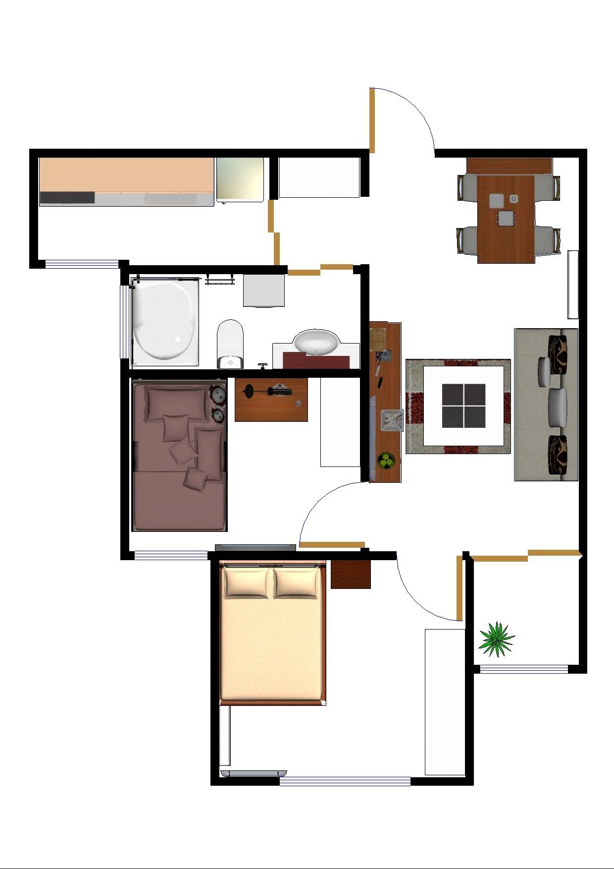 主题:72平房子自己画的装修平面设计图,两种房间布置方案,老婆要南北图片