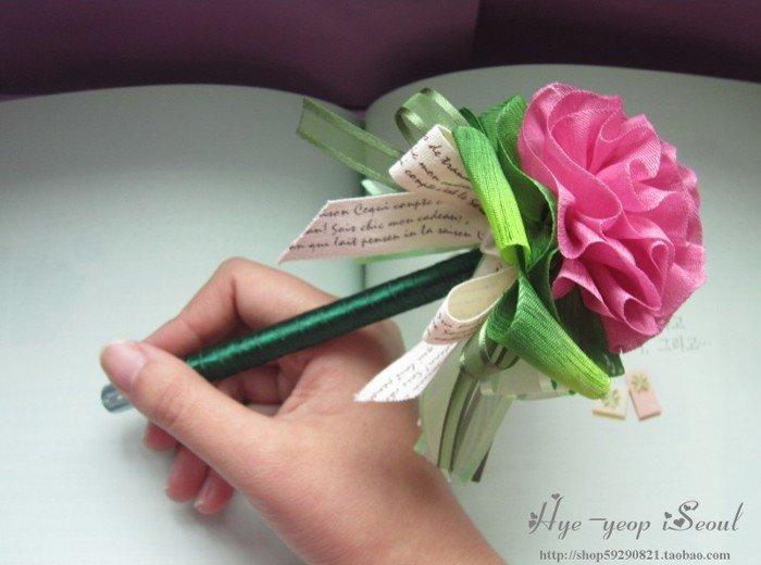 手工制作丝带花中性笔(玫红)