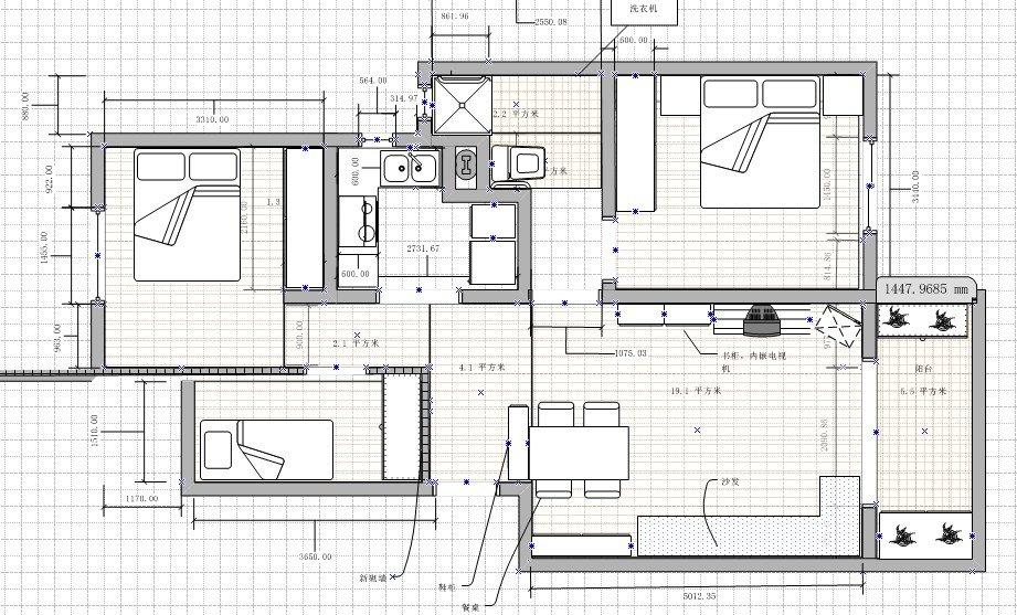 建面87套内72,两室两厅改三室一厅,自己设计自己监工清包全记录图片