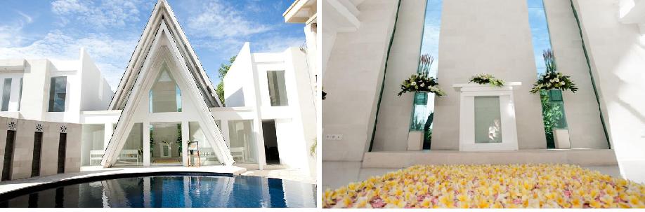 整体上融巴厘岛传统风格和现在风格于一体的半封闭式教堂,不论外观