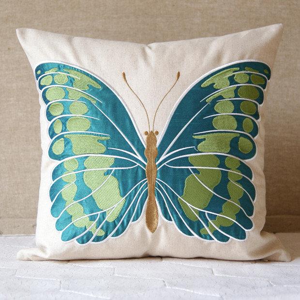 外贸亚麻刺绣美克美家大绿蝴蝶&