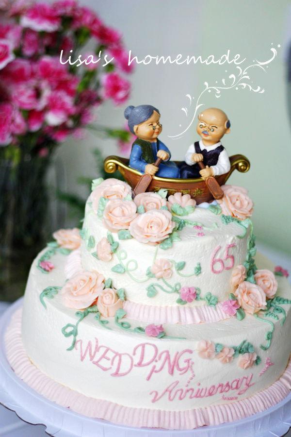 65周年钻石婚纪念立体花装饰双层动物奶油蛋糕