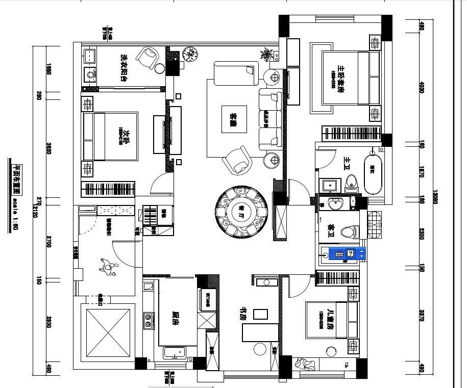 3房2厅2卫改成4房2厅2卫的设计图纸