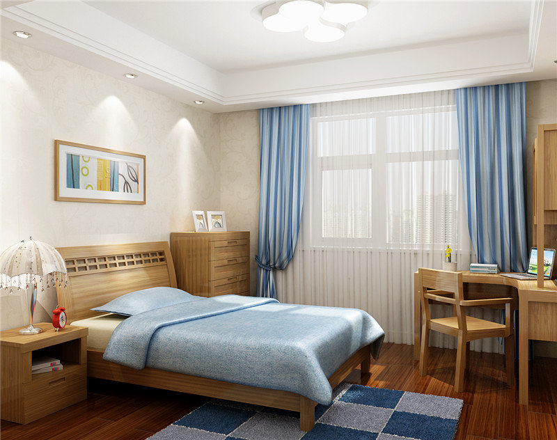 儿童房,蓝色和原木色的家具搭配起来还是挺好看滴哈!