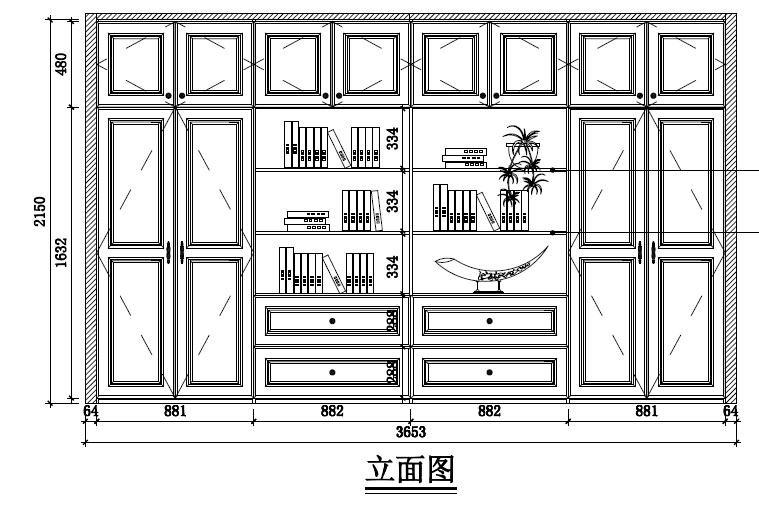 衣柜立面圖,中間開放式,直接六格層板可以放女兒書柜上放不下的圖書和圖片