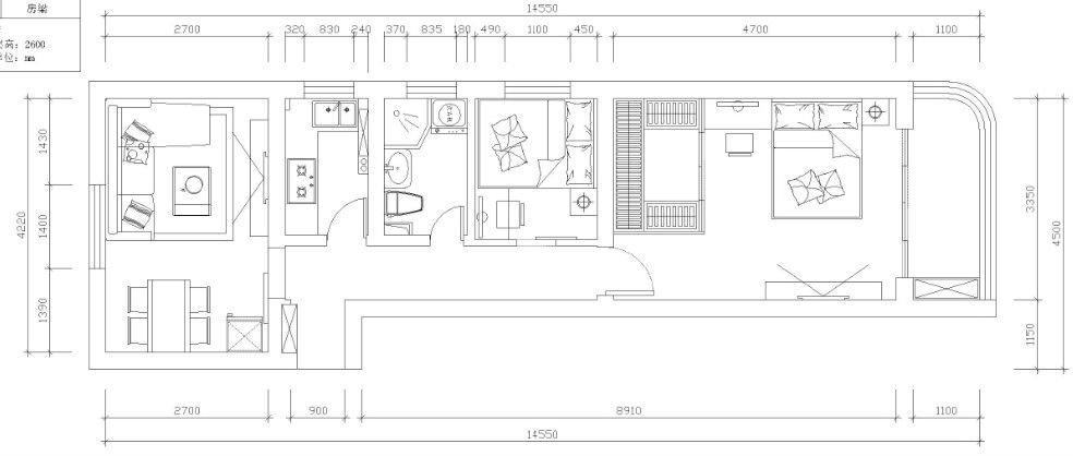 厅小房间大,长方形结构