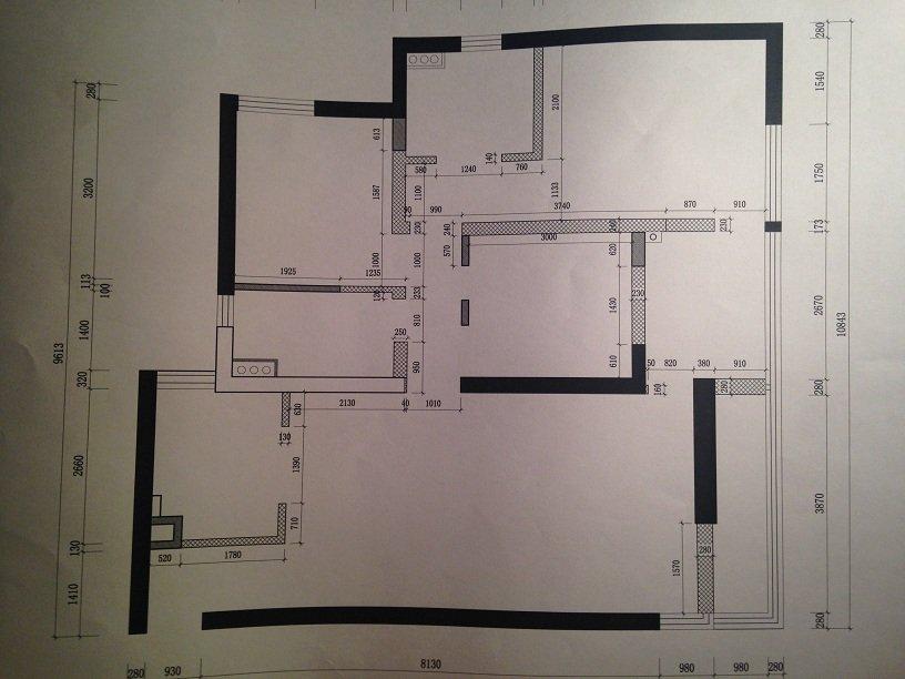 上点设计师手绘图吧 餐厅和厨房(冰箱最后决定放在厨房,所以那一面