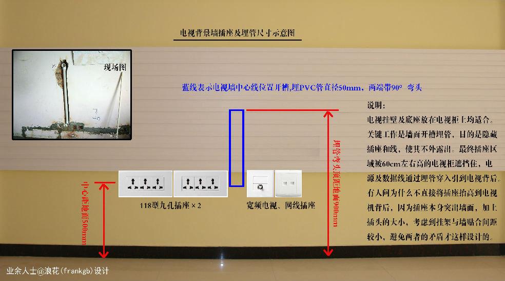 说明: 电视挂壁及底座放在电视柜上均适合。 关键工作是墙面开槽埋管,目的是隐藏 插座和线,使其不外露出。最终插座区 域被60cm左右高的电视柜遮挡住,电 源及数据线通过埋管穿入引到电视背后。 有人问为什么不直接将插座抬高到电视 机背后,因为插座本身突出墙面,加上 插头的大小,考虑到挂架与墙贴合间距 较小,避免两者的矛盾才这样设计的。