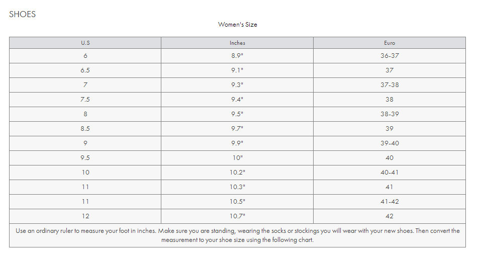女士鞋子 尺码对照表