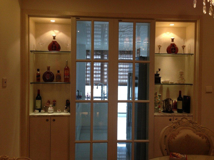 带酒柜的移门图片 移门两边做酒柜效果图,厨房移门两边酒柜