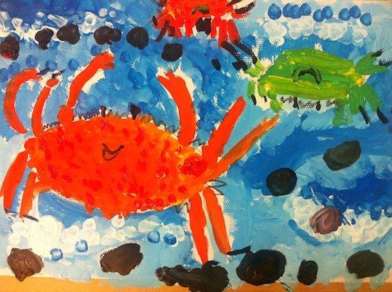 又是吃螃蟹的季节,所以通过小朋友们自己认真仔细观察大闸蟹,画出今天