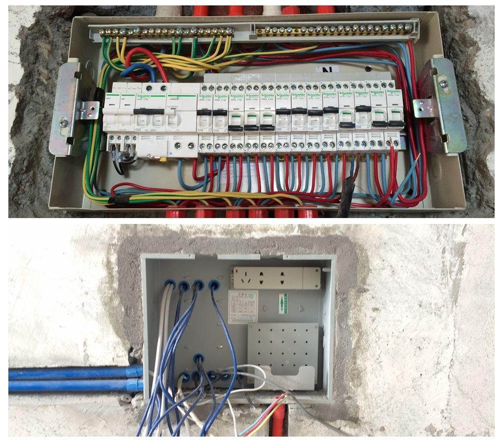 这是实物强电箱和弱电箱接线