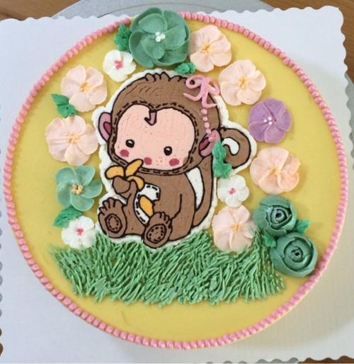 猴子蛋糕手绘图