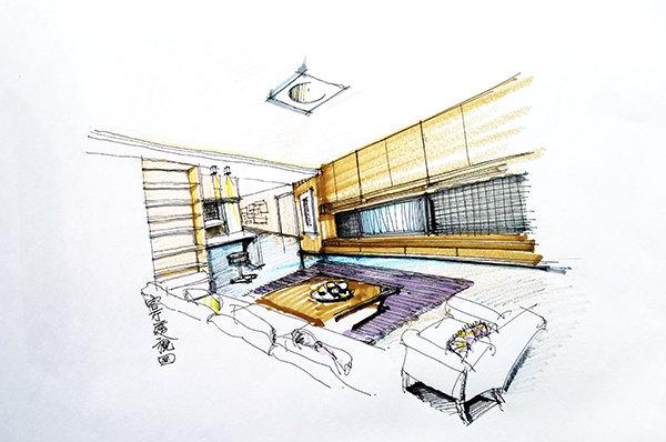 设计师画的手绘图纸,分别是客厅