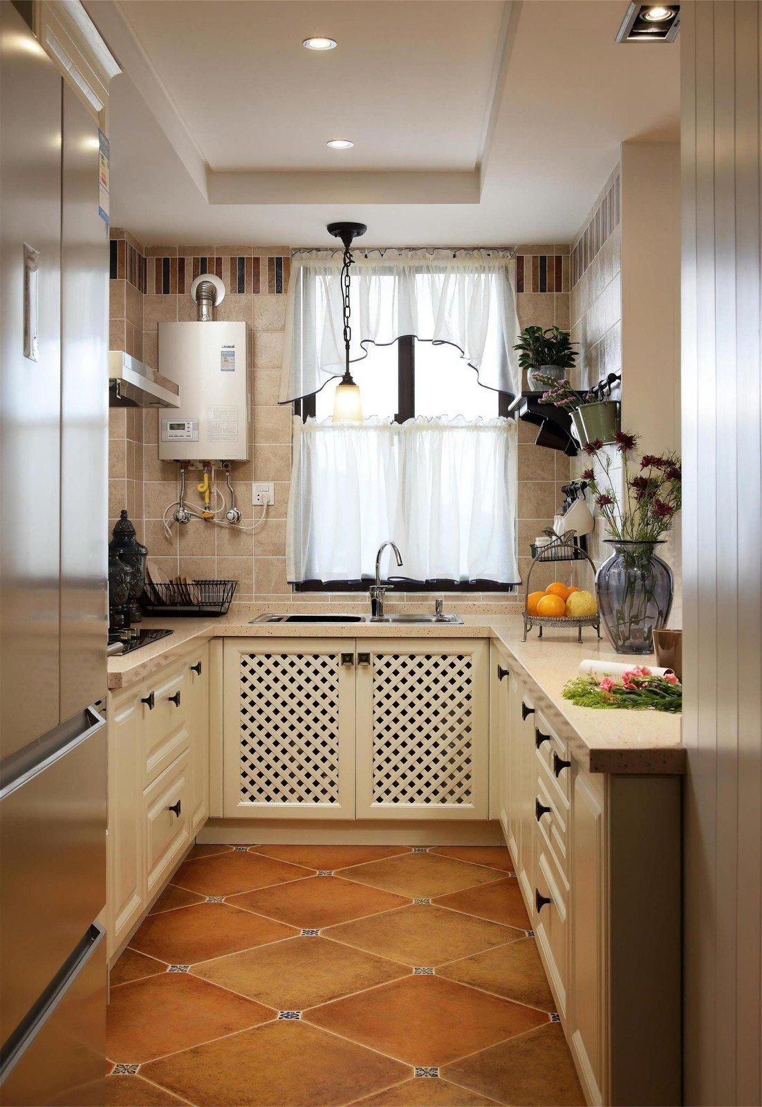 砖砌中岛美式厨房