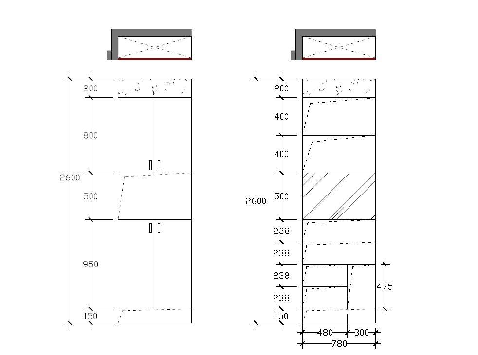 鞋柜立面和内部结构
