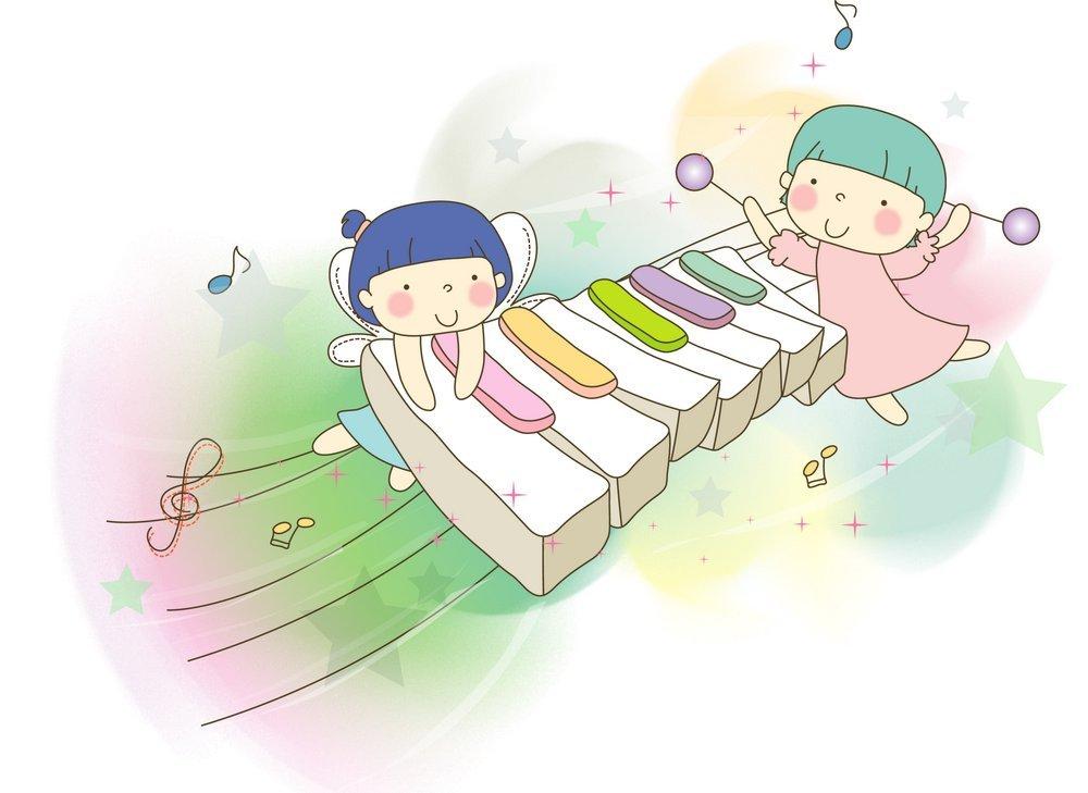 钢琴 乐谱 小朋友 卡通