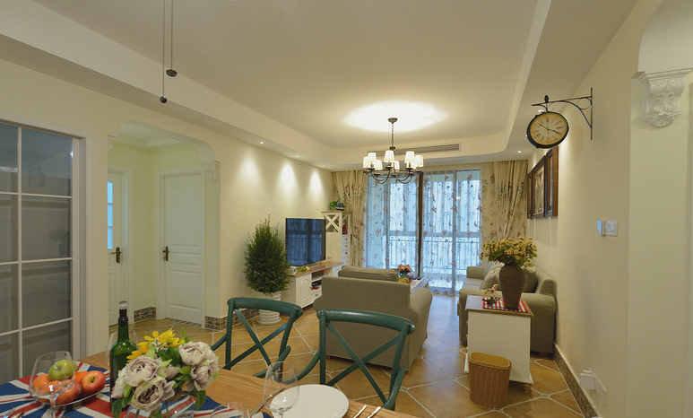 家居鹤立绘制>110平三室两厅两卫现代混搭美式就是小窝要的风格缠丝装修唐卡图片