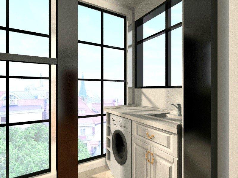 阳台 --  阳台铝合金封窗选不到我要的素材,只能用落地窗凑合看看